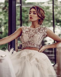 stephanie allin 2019 bridal cap sleeves jewel neck heavily embellished bodice ruffled skirt glitzy romantic glamorous a  line wedding dress sheer back (1) zv -- Stephanie Allin 2019 Wedding Dresses | Wedding Inspirasi #wedding #weddings #bridal #weddingdress #bride ~