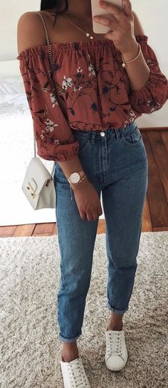 #summer #outfits red off the shoulder top + vintage jeans