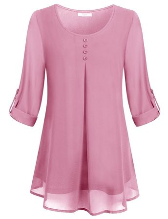 7fc4021a85126 Women s Roll-up Long Sleeve Round Neck Layered Chiffon Flowy Blouse Top -  Pink -