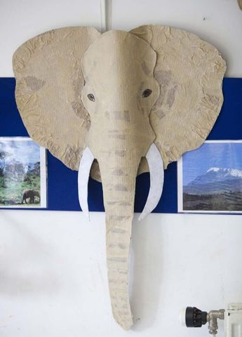 Elephant head made in the children's Applied Art Workshops at .