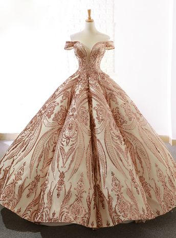 Luxury Gold Sequins Ball Gown Off The Shoulder Wedding Dress