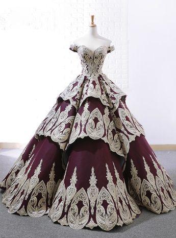 Latest Purple Ball Gown Appliques Off The Shoulder Lace Appliques Wedding Dress