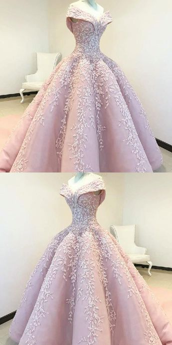 Discount Fetching Long Prom Dress, Appliques Prom Dress, Prom Dress Ball Gown, Prom Dress Pink