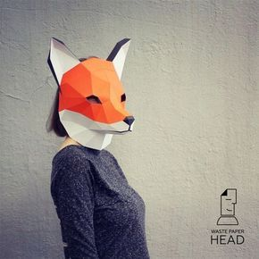 11 - papercraft FOX MASK - printable digital template