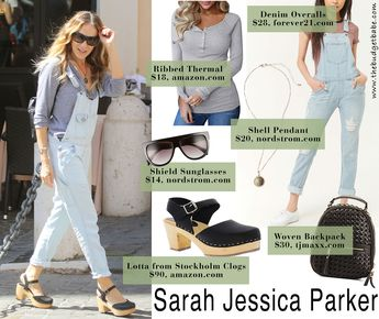 9f1451f66eac Sarah Jessica Parker s Denim Overalls and Swedish Hasbeens Look for Less