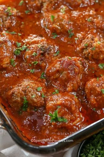 These Porcupine Meatballs are fantastic because they can be prepared ahead of time. Made with ground beef, rice, onion and seasonings then baked in a rich tomato sauce, these are a delicious weeknight meal. #spendwithpennies #meatballrecipe #meatballs #groundbeef #withrice #tomatosauce #easymeal #easydinner