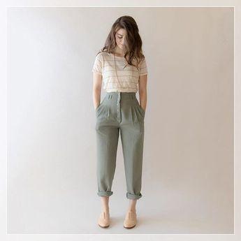 minyon kadınlar için yüksek paça pantolonlu kombin