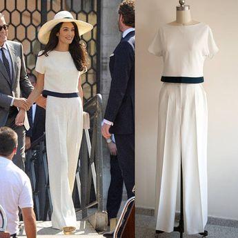 724b52200711 Amal Clooney Cream Pants Suit/ White Jumpsuit/ Wedding jumpsuit/ Wide leg  jumpsuit/