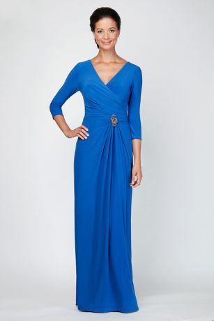 Draped Jersey A-line Dress with Beaded Waist   David's Bridal