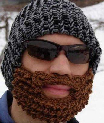 e08df7d541c20 Crocheted Beanie with Anti-Wind Beard