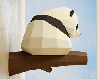 Papercraft Little Panda, DIY Paper craft, 3D template PDF kit, make your own low poly baby panda, origami pepakura, home decor idea, statue
