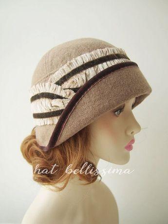 b81ea97ee79 SALE Camel Colour 1920 s Cloche Hat Vintage Style hat winter Hats  hatbellissima ladies hats milline