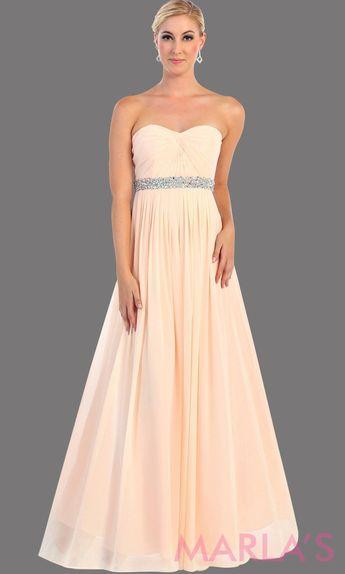 736cea85f639 Marla's Fashion Dresses @marlasfashions · Long blush flowy dress with  corset back. It has a multicolor rhinestone belt under the