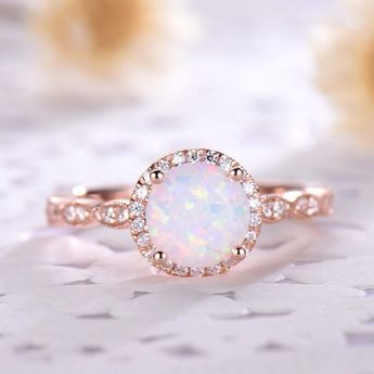 Opal Engagement Ring Halo 14k Rose Gold Diamond Marquise Milgrain Wedding Band Antique Anniversary Gift Women Set