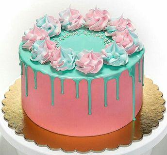 Bolo drip cake rosa e verde