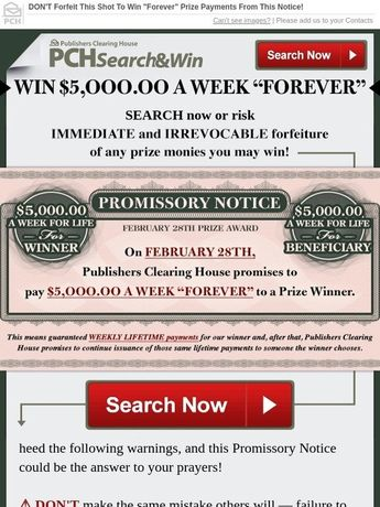 Publishers Clearing House Payments Due