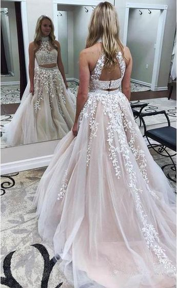 07fc5480cefe9a Lace Appliquéd Two Piece Prom Dresses Long Cheap Halter Ball Gowns PG727