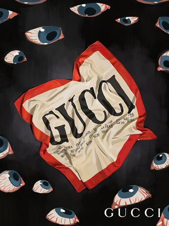 The 80s continue to influence the Spring Summer 2018 collection with this Gucci Cities print scarf with the names of the cities where the House's main stores are located. Presented on ivory silk twill with a red border.