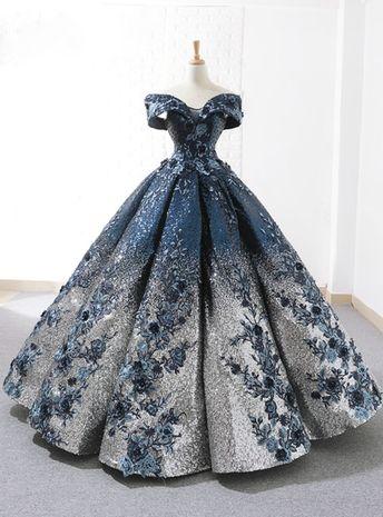 Blue Sequins Gold Appliques Off The Shoulder Floor Length Wedding Dress