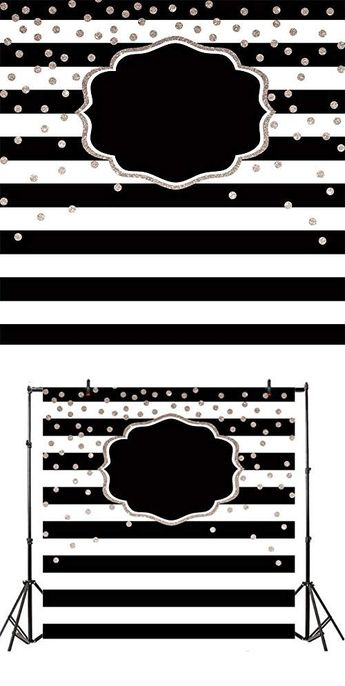 AOFOTO 6x6ft Customizable Black and White Stripe Backdrops for Photography Wedding Baby Shower Photoshoot Kids Adults 1st 2nd 16th 30th Birthday Party Decoration Wallpaper Photo Studio Props