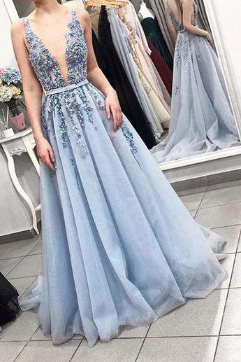 e539b89939e A Line Deep V Neck Beaded Open Back Light Blue Long Wedding Prom Dress  Formal Dresses