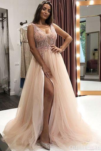 c1ec264a0d5869 Stunning V Neck Long Tulle Split Side Prom Dresses with Sequins P994
