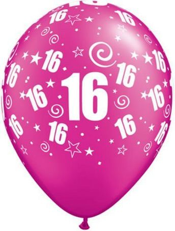 """Age 16/16th Birthday Party Around Pearl Magenta Pink 11"""" Latex Balloons x 25"""