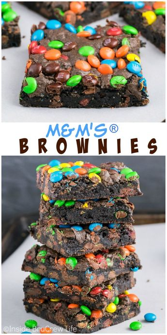 M&M's Brownies - homemade brownies with loaded with mini M&M's candies inside and on top is the way to do dessert right! Easy recipe to make! #brownies #chocolate #candy #mmcandies #dessert