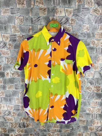 a1374bfe Vintage 90s Hawaii Cotton Shirt Neon Floral Small Le Coq Sportif Flower  Abstract Multicolour Rockabilly Hawaiian