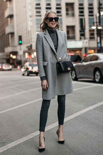 d6b9dd3f6c81 Blonde Woman Wearing Grey Coat Grey Turtleneck Sweater Grey Skinny Jeans  Black Pumps Black Chanel Boy