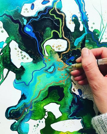 Fluid/Resin/Acrylic/Dirty/Ink🎨 sur Instagram: Do you see the 🐲? @susan.nethercote