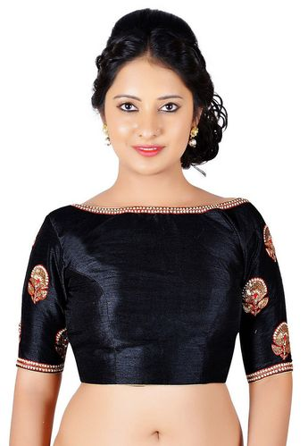 8f2b64aa19 Art Dupion Silk Padded Blouse in Black This Readymade piece is Enhanced  with Dangles, Zari