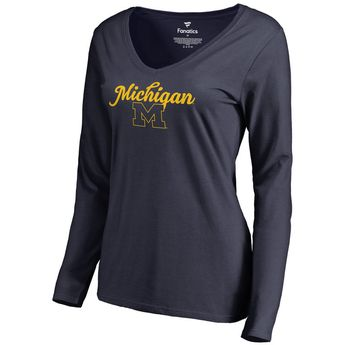 Michigan Wolverines Fanatics Branded Women's Freehand Long Sleeve T-Shirt - Navy