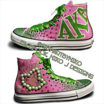 aa5564ddd4d34 Custom AKA Converse sneakers (Niko J. Designs)  followprettypearlsinc AKA  1908