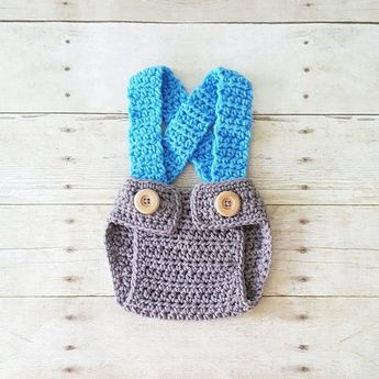 f6b64d7fb95 Crochet Baby Newsboy Hat Beanie Diaper Cover Suspenders Overalls Baby Boy  Set Infant Newborn Photography Photo