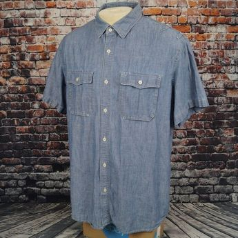 65a2e025 Banana Republic Soft Wash Shirt Blue Chambray Cotton Short Sleeve Mens XL