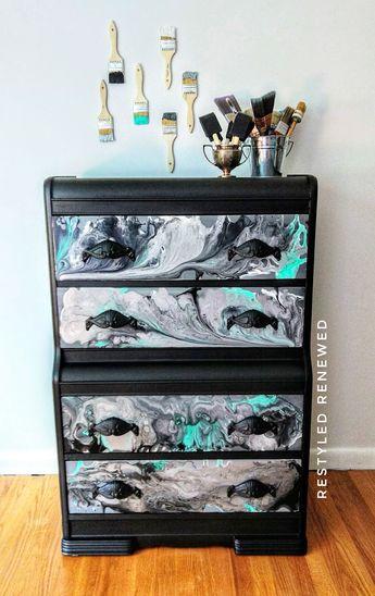 Acrylic pour. Acrylic pouring. Acrylic pour on dresser. Furniture Art. Art on furniture. Furniture as canvas. Canvas art on furniture. Modern Masters metallic paint.