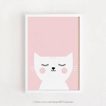 Printable Nursery Wall Art Pink Cat Print Baby girls room decor Cute art A4,A3, 5x7, 8x10, 11 x 14 p