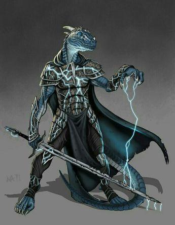 Half Blue Dragon Magus - Pathfinder PFRPG DND D&D d20 fantasy