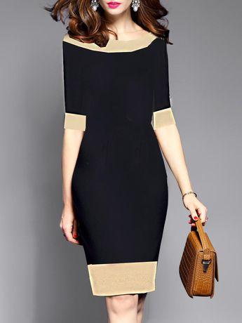 85972a82 Elowyn Two Toned Sheath Dress - Black and Camel