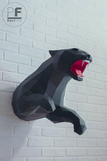Panther papercraft, Jaguar, Leopard, paper panther, origami jaguar, 3d leopard, polygonal, Make your own trophy, lowpoly, DIY template, PDF