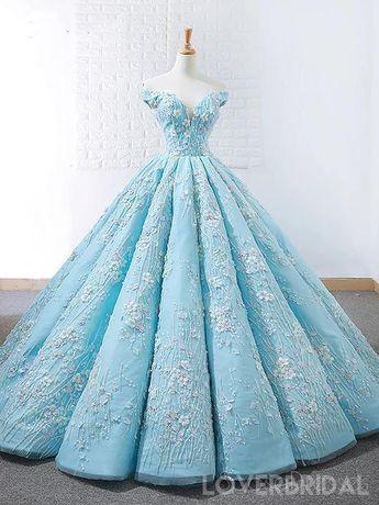 Off Shoulder Tiffany Blue Ball Gown Cheap Long Evening Prom Dresses, Cheap Custom Sweet 16 Dresses, 18532