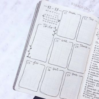 One-page weekly with wobbly lines and cute little leaves : bulletjournal