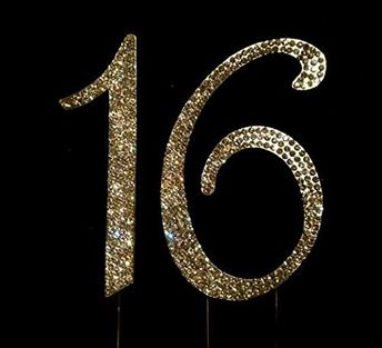 GOLD Rhinestone Crystal Covered 16 Sweet 16th Birthday Party Number Cake Topper