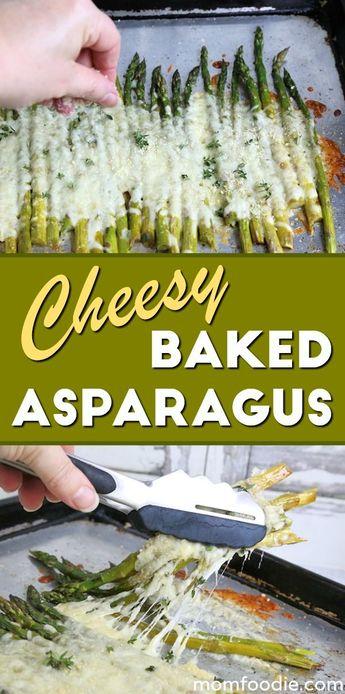 Cheesy Baked Asparagus - delicious side dish or vegetarian meal. Keto asparagus recipe. #asparagus #keto #sidedish