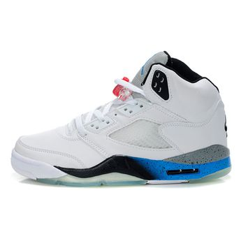 newest 3c53f 72bbe Air Jordan 5 Retro White Grey Jade Men s Shoe