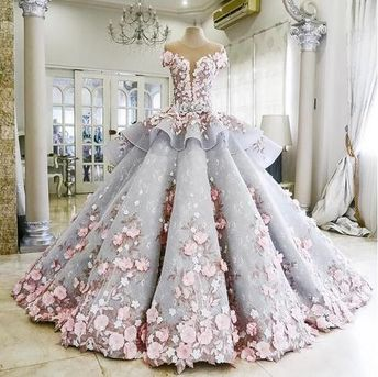 Ball gown wedding dress, lace wedding dress, flower wedding dress,colored wedding dress, Long Chapel Train Wedding Dress,bridal gown SWD000729-HM