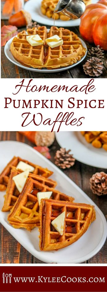 Make these homemade Pumpkin Spice Waffles a part of your Fall breakfast tradition. With their warm spices and yummy pumpkin they're a must make! via @kyleecooks