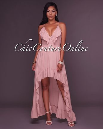 ea36b594fbc Chrystelle Light Mocha Ruffle High-Low Maxi Dress