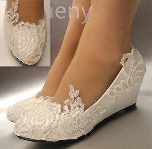 223e665ffc41 Details about su.cheny White light ivory lace Wedding shoes flat heel  wedges bridal size 5-12